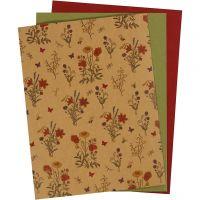 Kunstlederpapier, 21x27,5+21x28,5+21x29,5 cm, Dicke 0,55 mm, Einfarbig,Bedruckt, Natur, Grün, Rot, 3 Bl./ 1 Pck