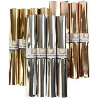 Kunstlederpapier, B: 49 cm, Dicke 0,55 mm, Einfarbig,Foliedetails, Gold, Rosa gold, Silber, 12x1 m/ 1 Pck