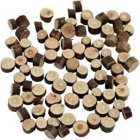 Holzscheiben - Sortiment, D: 7-10 mm, Dicke 4-5 mm, 230 g/ 1 Pck
