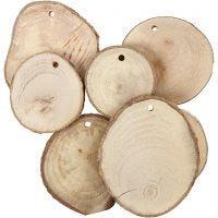 Holzscheiben mit Loch, D: 40-70 mm, Lochgröße 4 mm, Dicke 5 mm, 25 Stk/ 1 Pck