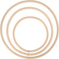 Bambusring, D: 15,3+20,3+25,5 cm, 3 Stk/ 1 Set