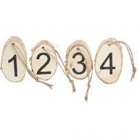 Holzscheiben mit Adventzahlen, 4 Stk/ 1 Pck