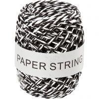 Papierkordel, Dicke 1 mm, Schwarz/Weiß, 50 m/ 1 Rolle