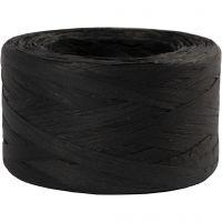 Papierbast (Raffia), B: 7-8 mm, Schwarz, 100 m/ 1 Rolle