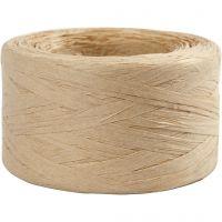 Papierbast (Raffia), B: 7-8 mm, Beige, 100 m/ 1 Rolle