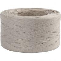 Papierbast (Raffia), B: 7-8 mm, Hellgrau, 100 m/ 1 Rolle