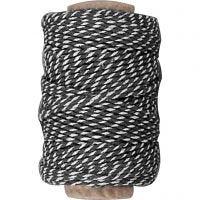 Baumwollkordel, Dicke 1,1 mm, Schwarz/Weiß, 50 m/ 1 Rolle
