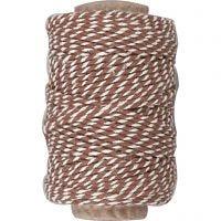 Baumwollkordel, Dicke 1,1 mm, Braun/Weiß, 50 m/ 1 Rolle