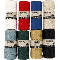 Bambuskordel, Dicke 1 mm, Sortierte Farben, 8x65 m/ 1 Set