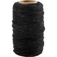 Baumwollkordel, Dicke 1,1 mm, Schwarz, 50 m/ 1 Rolle