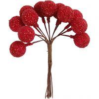 Künstliche Beeren, D: 15 mm, Weihnachtsrot, 12 Stk/ 1 Pck