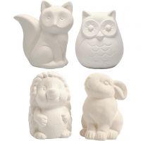 Tier-Spardosen, Eule, Fuchs, Igel, Hase, H: 9-10 cm, Weiß, 4 Stk/ 1 Box