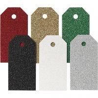 Geschenkanhänger, Größe 5x10 cm, 300 g, Sortierte Farben, 6x15 Stk/ 1 Pck