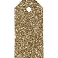 Geschenkanhänger, Größe 5x10 cm, Glitter, 300 g, Gold, 15 Stk/ 1 Pck