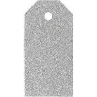 Geschenkanhänger, Größe 5x10 cm, Glitter, 300 g, Silber, 15 Stk/ 1 Pck