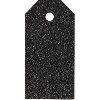 Geschenkanhänger, Größe 5x10 cm, Glitter, 300 g, Schwarz, 15 Stk/ 1 Pck