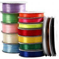 Satinband, Sortiment, Sortierte Farben, 15 Rolle/ 1 Pck