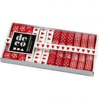 Dekoband-Sortiment, B: 10 mm, Harmonie in Rot-Weiß, 12x1 m/ 1 Pck