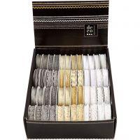 Dekoband, B: 5-10 mm, Gold, Silber, Weiß, 48x2 m/ 1 Pck