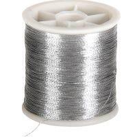 Nähgarn, Dicke 0,15 mm, Silber, 100 m/ 1 Rolle