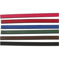 Lederband Imitat, B: 10 mm, Dicke 3 mm, Sortierte Farben, 6x1 m/ 1 Pck