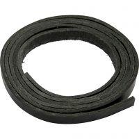 Lederband , B: 10 mm, Dicke 3 mm, Schwarz, 2 m/ 1 Pck