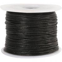 Lederband, Dicke 1 mm, Schwarz, 50 m/ 1 Rolle