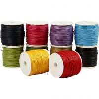 Baumwollkordel, Dicke 1 mm, Kräftige Farben, 10x50 m/ 1 Pck