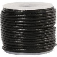 Lederband, Dicke 1 mm, Schwarz, 10 m/ 1 Rolle