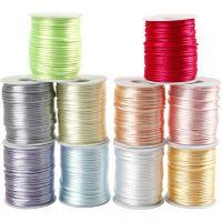 Satinband, Dicke 2 mm, Pastellfarben, 10x50 m/ 1 Pck