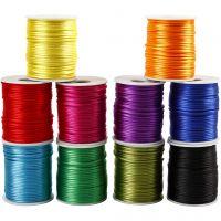 Satinband, Dicke 2 mm, Kräftige Farben, 10x50 m/ 1 Pck