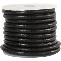 Lederband, Dicke 4 mm, Schwarz, 5 m/ 1 Rolle