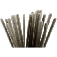 Pfeifenreiniger, L: 30 cm, Dicke 9 mm, Grau, 25 Stk/ 1 Pck