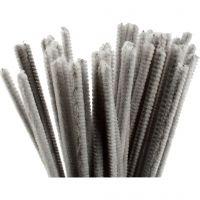 Pfeifenreiniger, L: 30 cm, Dicke 6 mm, Grau, 50 Stk/ 1 Pck