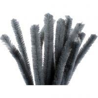 Pfeifenreiniger, L: 30 cm, Dicke 15 mm, Grau, 15 Stk/ 1 Pck