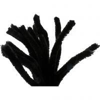 Pfeifenreiniger, L: 30 cm, Dicke 15 mm, Schwarz, 15 Stk/ 1 Pck