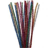 Pfeifenreiniger, L: 30 cm, Dicke 6 mm, Glitter, Kräftige Farben, 24 Stk/ 1 Pck