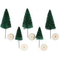 Weihnachtsbäume, H: 40+60 mm, Grün, 5 Stk/ 1 Pck