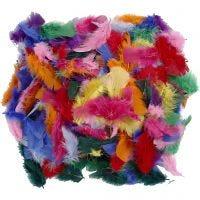 Federn, Größe 7-8 cm, Sortierte Farben, 50 g/ 1 Pck