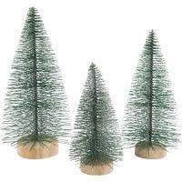 Weihnachtsbäume, H: 10+13+14 cm, 3 Stk/ 1 Pck