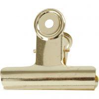 Bulldog-Klammer aus Messing, B: 7,5 cm, Messing, 6 Stk/ 1 Pck