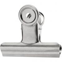 Bulldog-Klammer aus Messing, B: 7,5 cm, Silber, 6 Stk/ 1 Pck