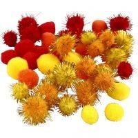 Pompons, D: 15+20 mm, Orange, Rot, Gelb, 48 sort./ 1 Pck
