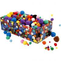 Pompons, D: 5-40 mm, Sortierte Farben, 220 g/ 1 Pck