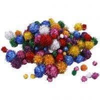 Glitzer-Pompons, D: 15-40 mm, Glitter, Kräftige Farben, 62 g/ 1 Pck