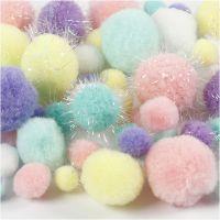 Pompons, D: 15-40 mm, Glitter, Pastellfarben, 62 g/ 1 Pck
