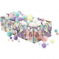 Pompons, D: 15-40 mm, Glitter, Pastellfarben, 400 g/ 1 Pck