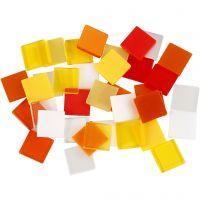 Mini-Mosaik, Größe 10x10 mm, Harmonie in Rot-Orange, 25 g/ 1 Pck