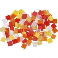 Mini-Mosaik, Größe 5x5 mm, Harmonie in Rot-Orange, 25 g/ 1 Pck