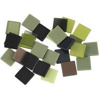 Mini-Mosaik, Größe 10x10 mm, Grün mit Glitter, 25 g/ 1 Pck